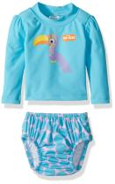 KIKO & MAX Girls' Baby Rashguard and Diaper Cover Swim Set, Aqua Toucan, S