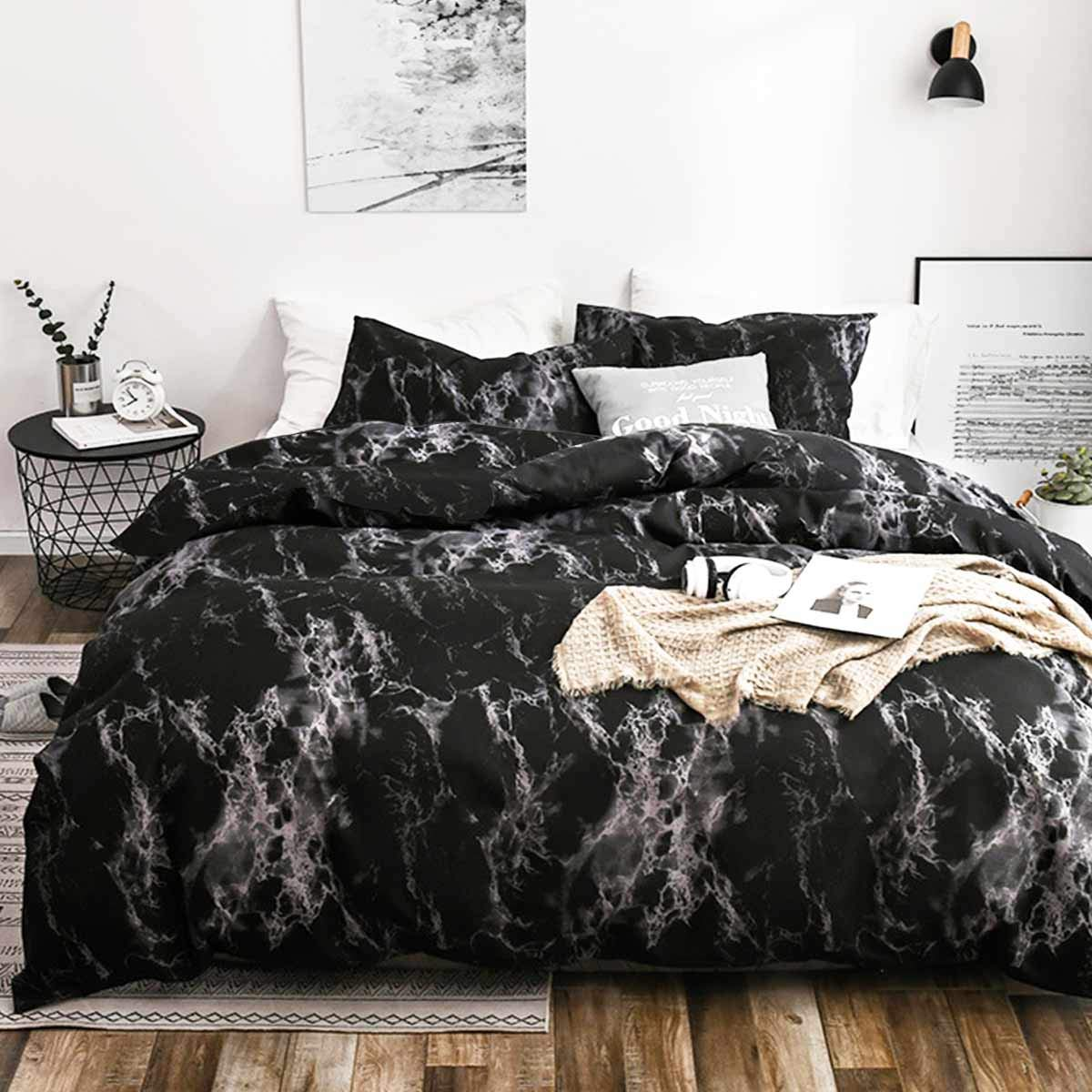 NANKO King Bedding Duvet Cover Set Dark Black Marble, 3 Piece - 1000 - TC Luxury Microfiber Quilt Cover with Zipper Closure, Ties - Best Organic Modern Style for Men and Women