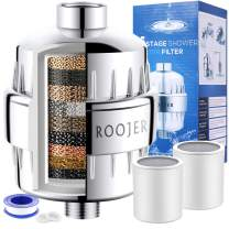 ROOJER Shower Filter - 15 Stage Showerhead Filter for Hard Water - Remove Chlorine and Fluoride - Improves The Condition of Your Skin, Hair and Nails - with 2 Replaceable Filter Cartridges