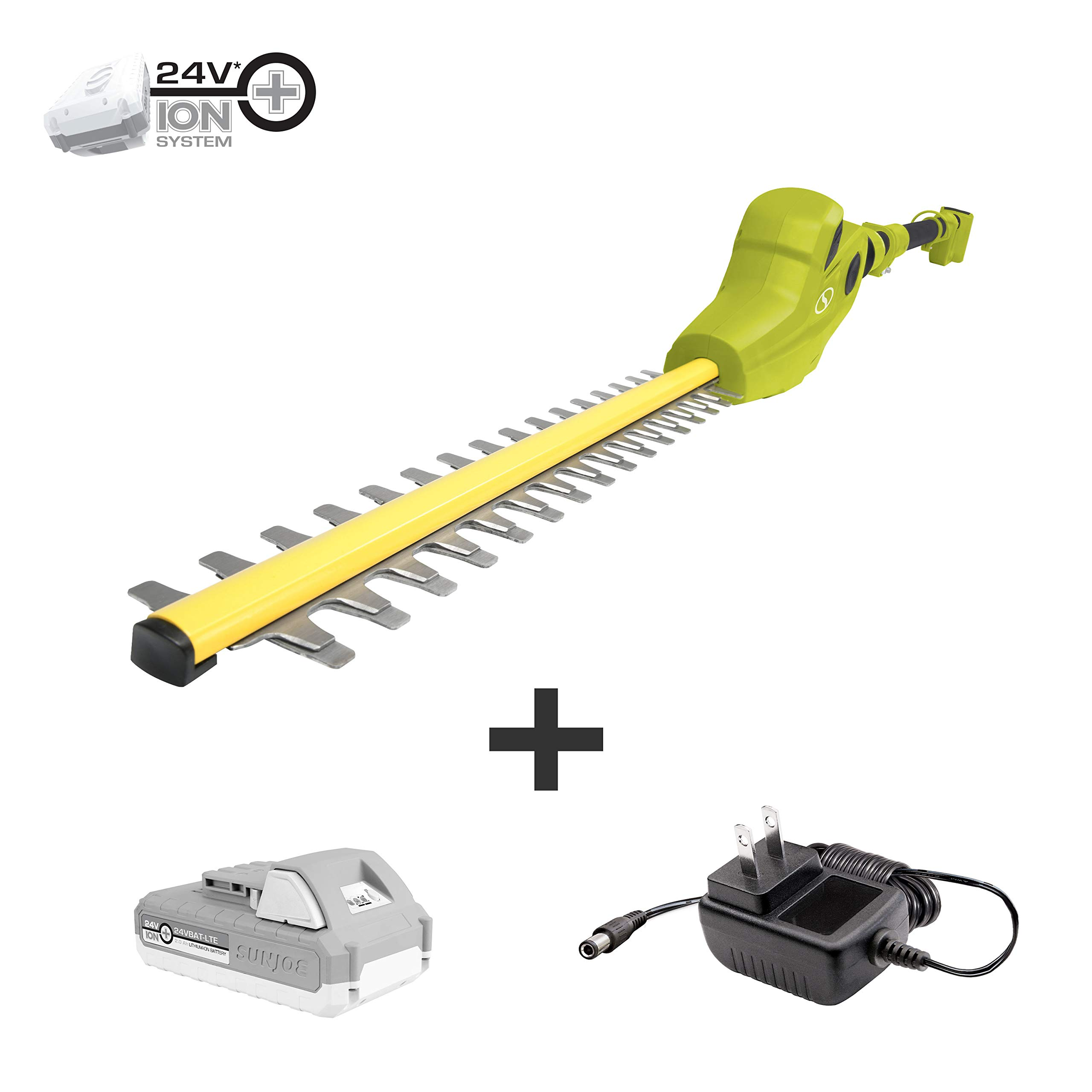 Sun Joe 24V-PHT17-LTE Cordless Telescoping Dual-Action Pole Hedge Trimmer, Kit (w/2.0-Ah Battery + Quick Charger)