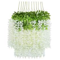 U'Artlines 12 Pack 3.6 Feet Artificial Fake Wisteria Vine Ratta Hanging Garland Silk Flowers String Home Party Wedding Decor (12, White)