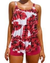 OMKAGI Womens Tankini Bathing Suits Swimdress Tribal Print Swimsuits with Boyshort