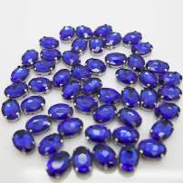 Royal Blue Rhinestones Oval Sew On Rhinestone 50pcs 10x14mm Flatback Rhinestones with Silver Prongs for Crafts Clothes Dresses Shoes Jewelry Making