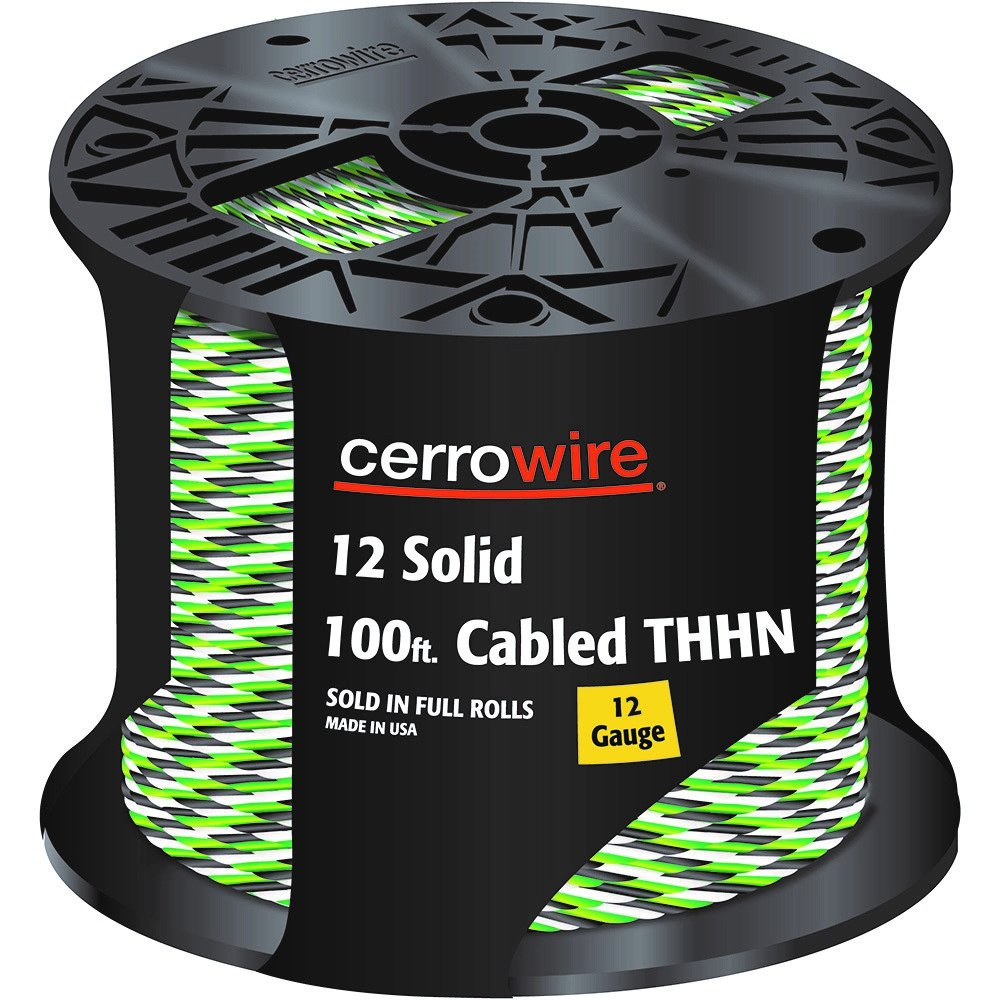 CERRO 112-161253C 100-Feet 12 Gauge Solid Cabled THHN Black, White and Green Wire, 100-Foot