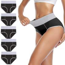 wirarpa Women's High Waisted Cotton Underwear Full Coverage Briefs Soft Colorful Ladies Panties Multipack