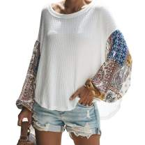 Chiffon Splicing Long Sleeve Loose Blouse Knitted Tops White M