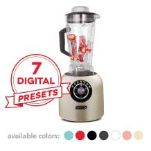 Dash DPB500CH Chef Series Blender with Stainless Steel Blades + Digital Display for Coffee Drinks, Frozen Cocktails, Smoothies, Soup, Fondue & More, 64 oz, Champagne