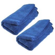 """Zwipes Large Premium Absorbent Microfiber Drying Towel (Size: 40"""" x 25""""), 2-Pack Pocketed Plush Lint-Free Cloth, Blue"""