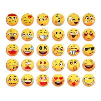 SUPCOOKI 30pcs Glass Refrigerator Magnets Decorative Magnet Emoji Style 1.1 inch Mini Funny Fridge Magnet Fun Fridge Stickers Cute Home Decoration for Office Cabinets Whiteboards Photo Abstract