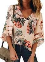 Dearlove Women's Cold Shoulder 3/4 Sleeve Floral Print Top