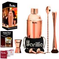 Rose Copper Cocktail Shaker Set Bartender Kit by BARILLIO: 24 oz Stainless Steel Martini Mixer, Muddler, Mixing Spoon, jigger, 2 liquor pourers, Velvet Bag Recipes Booklet & eBook