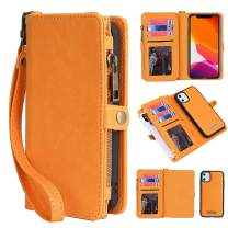KelaSip iPhone 11 Wallet Case, Leather Wallet Phone Case & Card Holder Buckle Magnetic Detachable,Yellow,for iPhone 11