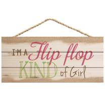 P. Graham Dunn Flip Flop Kind of Girl Natural 10 x 4.5 Wood Wall Hanging Plaque Sign