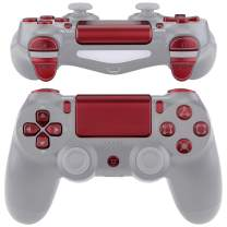 eXtremeRate Scarlet Red Classical Symbols Replacement Full Set Buttons for Playstation 4 PS4 Slim PS4 Pro CUH-ZCT2 Controller - Compatible with PS4 DTFS LED Kit - Controller NOT Included