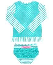 RuffleButts Baby/Toddler Girls Rash Guard 2-Piece Swimsuit Set - Long Sleeve Bikini with UPF 50+ Sun Protection
