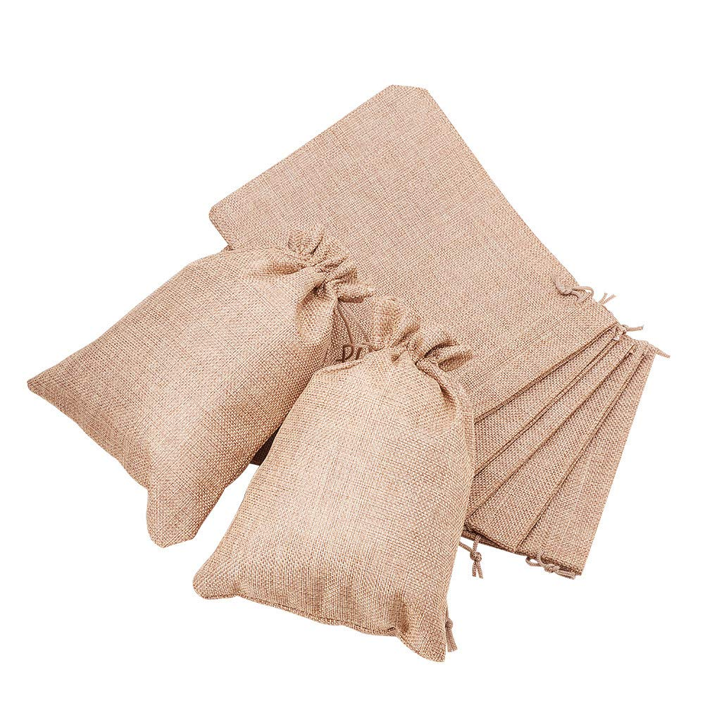 BENECREAT 24Pack Large Size Burlap Bags with Drawstring Gift Bags Jewelry Pouch for Wedding Party and DIY Craft Color Linen, 9 x 6.7 Inch