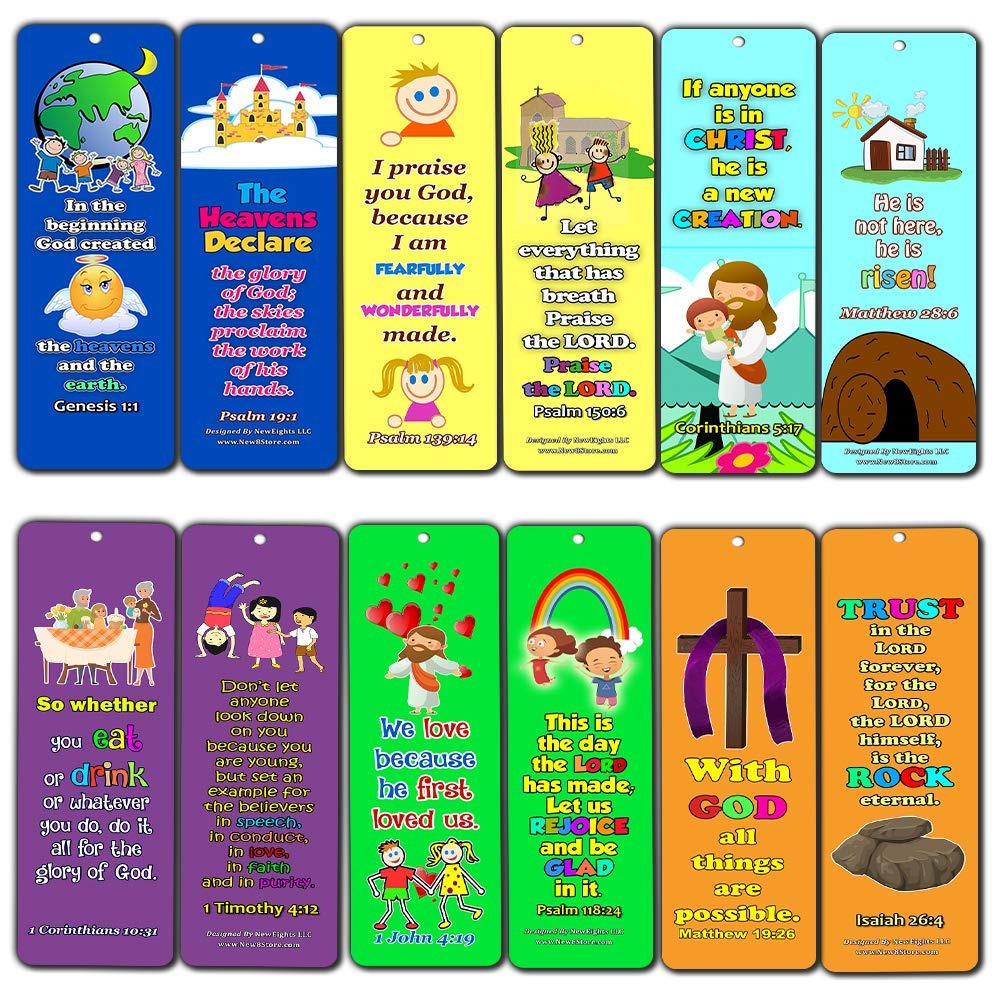 Powerful God Memory Verse Bookmarks (12-Pack) - Compilation of Memory Verses for Kids About God's Power
