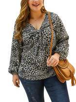 CHARLES RICHARDS Women's Plus Size Tunic Tops Long Sleeves Leopard Knot Basic Blouse Shirt