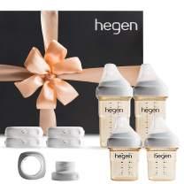 Hegen Baby Bottles Newborn Complete Starter Kit- Anti Colic Baby Bottles Baby Gifts- Breast Milk Storage Lids, Secure Seal, Medium Teat and Slow Teat, Wide Neck Adapter
