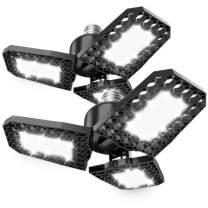 Brobantle LED Garage Light, 80W Garage Light 8000LM Deformable Garage Ceiling Lights 6500K Powerful Garage Lights LED Three-Leaf Light for E26 E27 Basement