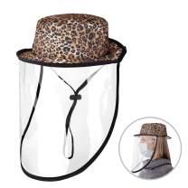 MoKo Anti Saliva Hat, UPF 50+ UV Sun Protection Bucket Hat Anti Spitting Hat with Face Shield Dustproof Sandproof Facial Pretective Cap Safari Fishing, Hiking, Gardening Hat for Women Men - Leopard