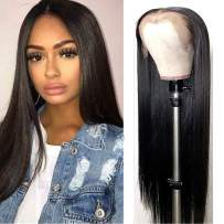 """Lemoda Brazilian 360 Lace Frontal Straight Hair Wig 150% Density Pre Plucked Virgin Human Hair Wigs With Baby Hair Nature Color for Black Women (16"""")"""