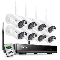 ZOSI 8CH Wireless Surveillance System with 4TB Hard Drive, H.265+ 8Channel 1080P Video WiFi NVR Kits and 8pcs 1080P 2.0 Megapixel Wireless Weatherproof 65ft Night Vision IP Cameras for 24/7 Recording