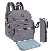 Qimiaobaby Multi-Function Baby Diaper Bag Backpack with Changing Pad and Portable Insulated Pocket (Grey)