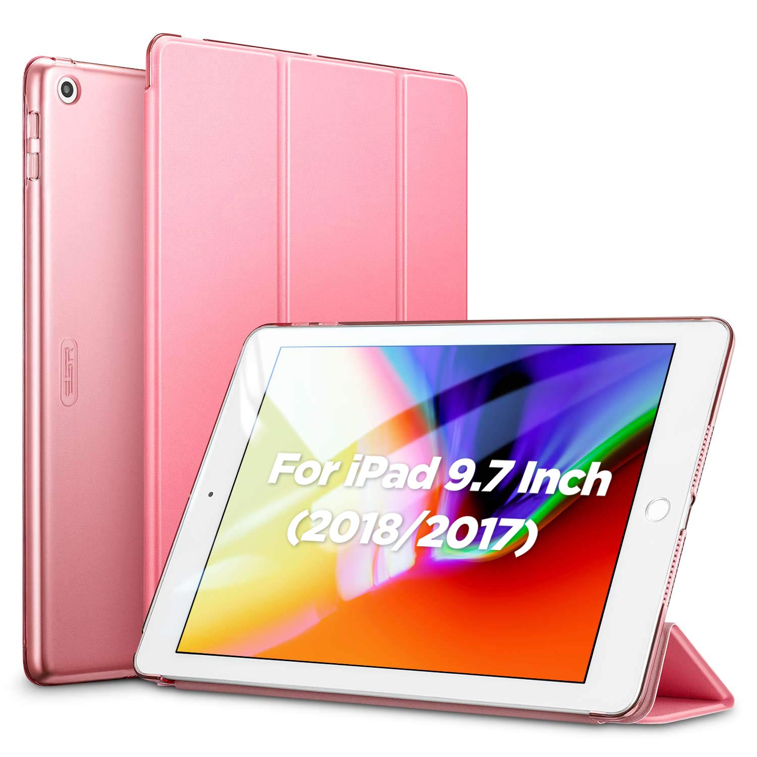 ESR Yippee Trifold Smart Case for iPad 6th Generation 2018/2017 (Not for iPad 10.2) [Lightweight] [Multi-Angle Viewing Stand Case] [Auto Sleep/Wake] for iPad 5th/6th Gen - Pink