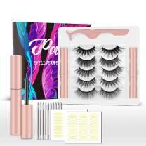 Gorota 5 Pairs Reusable Magnetic Eyelashes with 2 Tubes of Magnetic Eyeliner Kit 3D Natural Look False Eyelashes Short and Long Lashes Waterproof Eye Liner No Glue Needed Set (5P GORGEOUS)