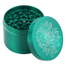 DCOU New Design Premium Zinc Alloy Herb Grinder 2.2 Inches 4 Piece Metal Grinder with Pollen Catcher with Carved Flower (Green)
