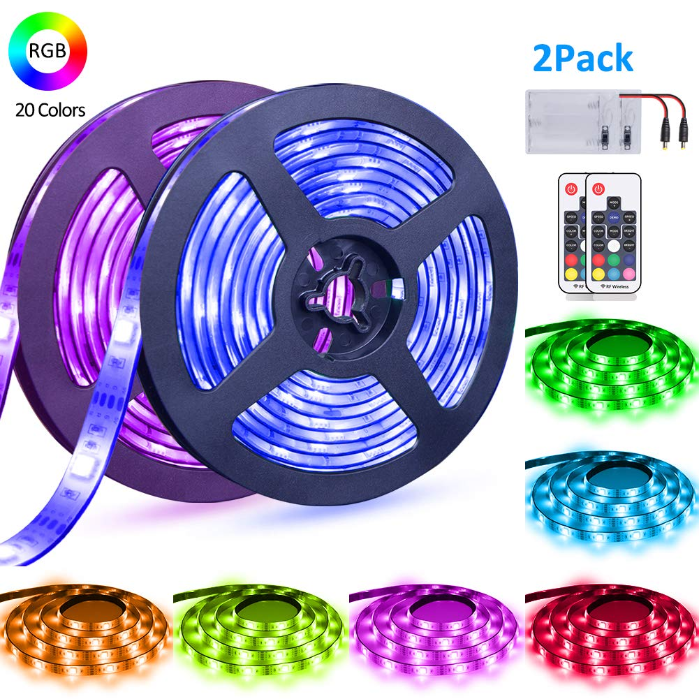 LED Strip Lights Battery Powered abtong RGB LED Battery Lights 17 Keys Remote Control 2PCS 6.56FT Waterproof LED Lights Strip Color Changing Flexible LED Rope Lights Kit for TV Party Home Decoration