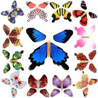 RINHOO 2-100Pcs Magic Fairy Flying in The Book/Card Butterfly Rubber Band Powered Wind Up Butterfly Toy Great Surprise Wedding Birthday Gift (13pcs)