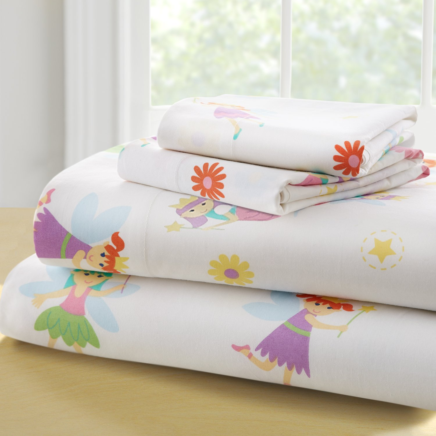 Wildkin Kids 100% Cotton Full Sheet Set for Boys and Girls, Cotton Bedding Set Includes Top Sheet, Fitted Sheet, and Two Standard Pillow Cases, Olive Kids, (Fairy Princess)