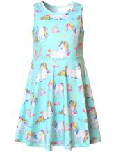 Unicorn Dresses for Girls Summer Rainbow American Teens Blue Birthday Party Kid