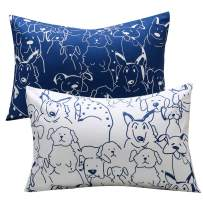 UOMNY Kids Toddler Pillowcases 2 Pack 100% Cotton Pillow Caver Pillowslip Case Fits Pillows sizesd 13 x 18 or 12x 16 for Kids Bedding Pillow Cover Baby Pillow Cases Dog Kids' Pillowcases Blue