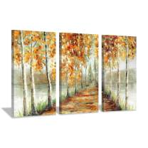 Hardy Gallery Abstract Landscape Canvas Artwork Painting: Yellow Birch Trees Picture Gold Foil Wall Art Print on Canvas for Bedroom (26'' x 16'' x 3 Panels)