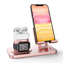 Imguardz 3 in 1 Charging Stand Compatible with iWatch Series 5/4/3/2/1, AirPods Pro 2/1 and iPhone 11/XR/X/Xs/Max/8/8 Plus/7/7 Plus/6s/6s Plus/5/SE (Charger & Cables Required), Rose Gold