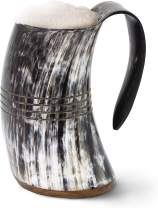 "Norse Tradesman Genuine Viking Drinking Horn Mug - 100% Natural Beer Horn Tankard w/ Ring Engravings | ""The Eternal"", Polished, Large"