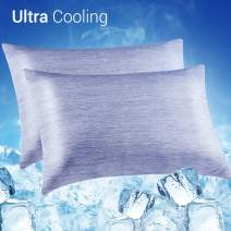 LUXEAR Cooling Pillowcase, 2 Pack Cooling Pillow Cover with Japanese Q-Max 0.55 Cooling Fiber, Breathable Soft, Cooling Eco-Friendly, Hidden Zipper Design, Standard Size(20x26 inches)-Blue