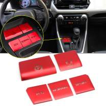 Xotic Tech Red Gear P Gear Brake Hold Accessories Function Button Frame Interior Trims 5 Pieces for Toyota RAV4 2019