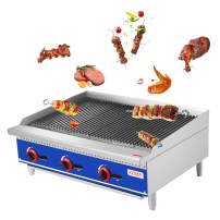 "KITMA 36"" Natural Gas Radiant Charbroiler - Commercial Countertop Stainless Steel Gas Barbecue Grill with Radiant - Restaurant Barbecue Equipment, 105000 BTU"