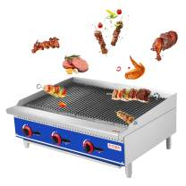 """KITMA 36"""" Natural Gas Radiant Charbroiler - Commercial Countertop Stainless Steel Gas Barbecue Grill with Radiant - Restaurant Barbecue Equipment, 105000 BTU"""