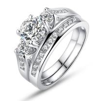 BISAER Love Cubic Zirconia Engagement Wedding Rings Set for Women,Set of 2 White Gold Plated Princess Cut Promise Ring Fashion Jewelry for Women Men Girls