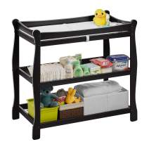 """Kealive Baby Changing Table, 30'' Infant Diaper Changing Table Natural Wood 2 Fixed Shelves Storage, Nursery Station with Pad and Safety Belt for Baby, BPA Free, 37.4""""L x 18.9""""W x 35.8"""" H, Black"""