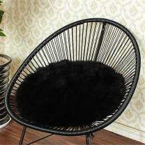 Eanpet Faux Sheepskin Chair Pad Round Cover Seat Cushion Pad Soft Fluffy Area Rug for Area Rugs for Chair Seat Pad Couch Pad Area Natural Rugs Black 1.5x1.5FT