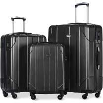 Merax 3 Piece P.E.T Luggage Set with TSA Lock Eco-friendly Light Weight Spinner Suitcase (Black-1)