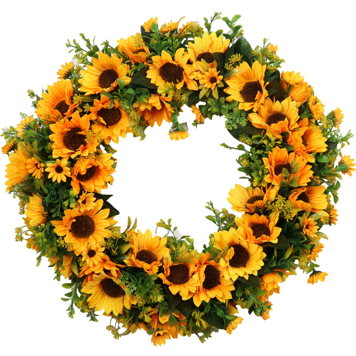 """Pauwer 20"""" Large Sunflower Wreath for Front Door Silk Artificial Yellow Sunflower with Green Leaves Door Wreath Indoor Outdoor (20"""" Sunflower)"""