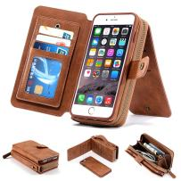 iPhone 8 Case, iPhone 7 Case, 2 in 1 [Magnetic Detachable] Wallet PU Leather Mirror Case Protective Flip Folio Cover Zipper Purse Clutch with [11 Card Holder] Slot for iPhone 7/8 4.7 inch - Brown