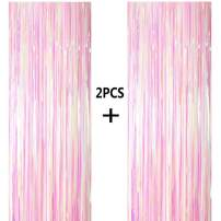 ONUPGO 2 Pack 3.28 ft x 9.8 ft Colors Foil Curtains Metallic Tinsel Fringe Curtain Photo Booth Props Backdrop Curtain Perfect for Birthday Wedding Baby Shower Christmas Holiday Party Decorations